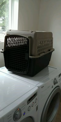 Grey and black pet carrier