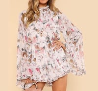 White floral jumpsuit romper elegant high waisted chiffon