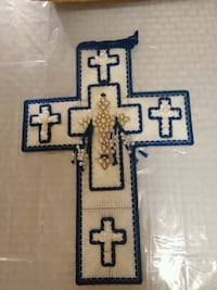 Blue and white cross made out of yarn Bossier City, 71112