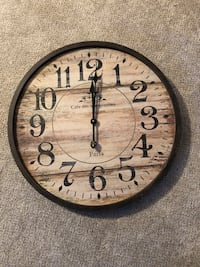 """Round brown and white wooden analog wall clock 24.5"""" diameter Inver Grove Heights, 55077"""