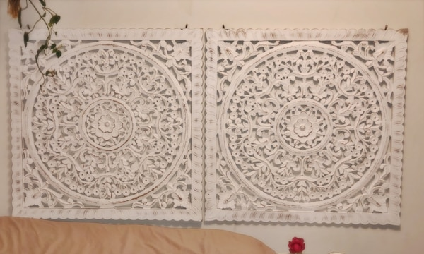 2 Hand Carved Wooden Medallions Wall Art