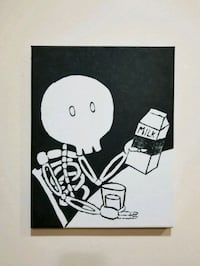Skeleton with milk painting on canvas