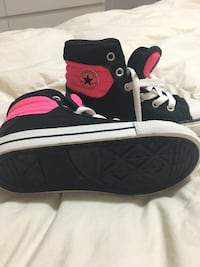 Black-and-pink Converse All-Star high top sneakers