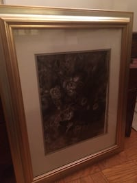 brown wooden framed painting of flowers 36 km