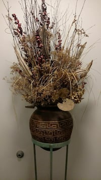 Dried arrangement in clay pot with tall stand Houston, 77027