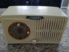 white plastic radio