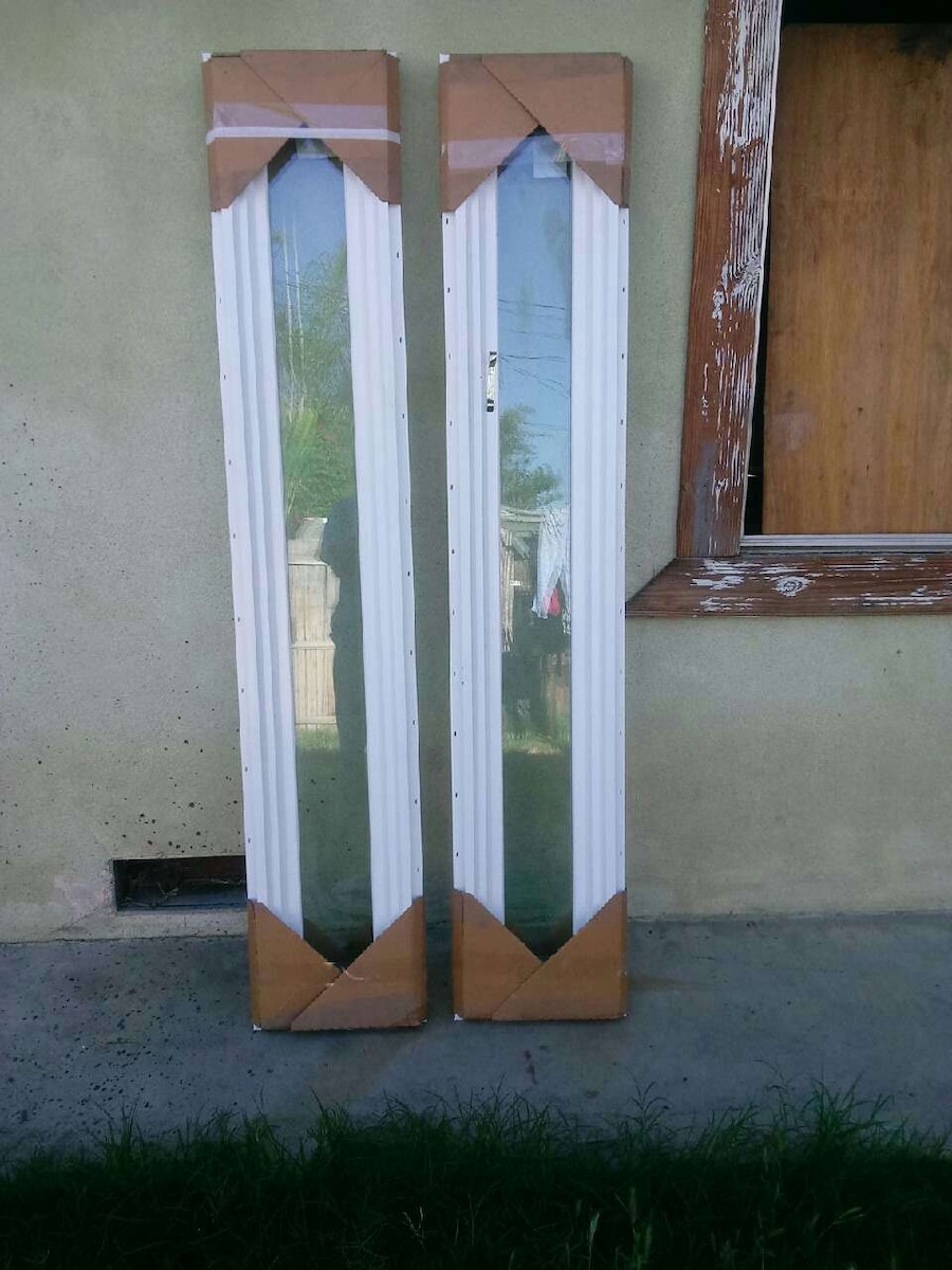two white frame clear glass windows
