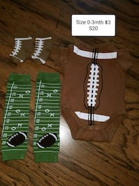 0-3mth football onsie  Erath, 70533