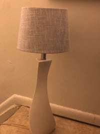 White lamp with light blue shade