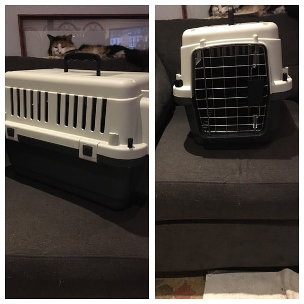 Grey and beige pet carrier