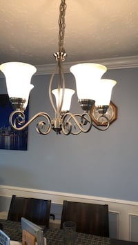 Silver-colored uplight chandelier Langley, V3A 3T9