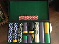 white, black, and green poker chip set with box Bolton, Caledon, ON, Canada