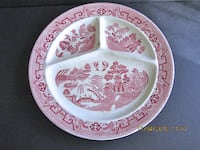 """Antique RED WILLOW DIVIDED PLATE 10-3/4"""" Made in Holland Linganore"""