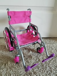 """Pink Fabric Cloth Wheelchair For 18"""" Doll Fits Ame Sanford, 32771"""