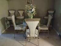 Glass table and chairs with 3 bar stools White Bear Lake
