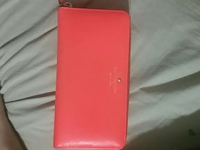 pink leather kate spade long wallet