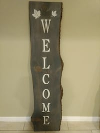 gray welcome painted slab decor