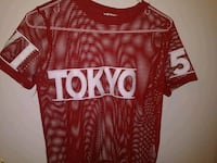 red and white Tokyo 5 jersey