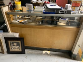 glass and wooden   display cabinet