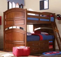 Solid wood double bunk beds