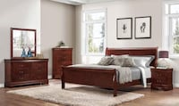 Brown wooden bed frame with white mattress Dunn, 28334
