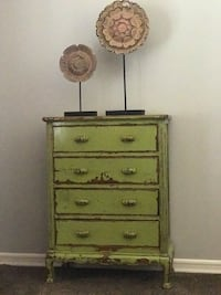 CHARTREUSE green WOOD Quality DRESSER TALLBOY 4-drawer from ANTHROPOLOGIE