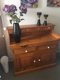 Brown wooden dresser, credenda , wash table with mirror