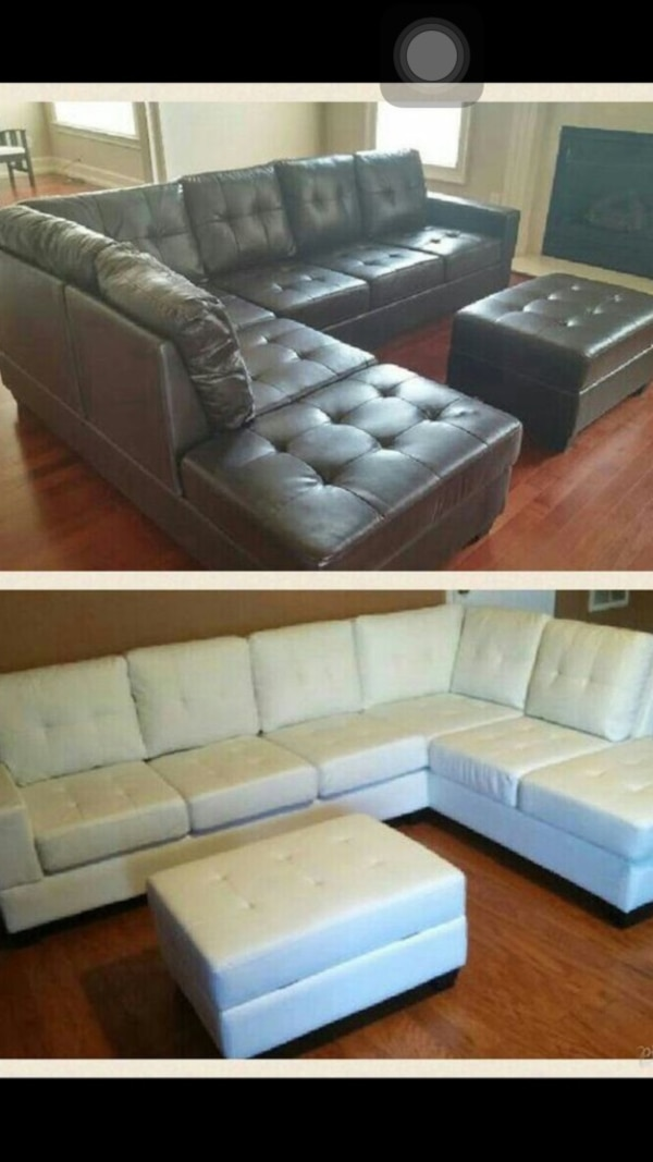 Tufted Gray Suede Sectional Sofa