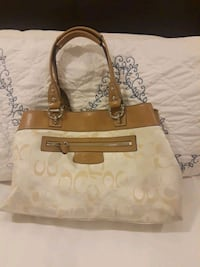 monogrammed brown and white Coach leather tote bag Los Altos Hills, 94022