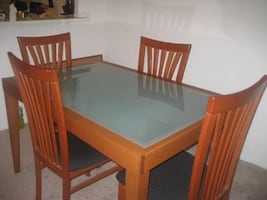 Wood & Glass 6 Person Dining Table