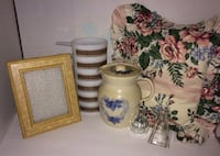 Beautiful Package Lot of Various Household Items for Home - Pitcher, Picture Frame, Glassware, Etc. Chantilly