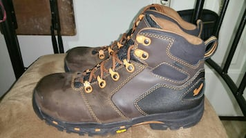 pair of brown-and-black work boots