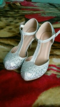 pair of gray glittered peep-toe heeled shoes Albuquerque, 87107