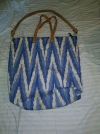 white and blue chevron print tote bag Independence, 64055