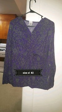 purple and black floral long-sleeved shirt Westminster, 21157