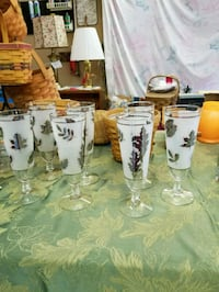 7 Vintage Pilsner Silver and Frosted Glasses Hagerstown, 21740