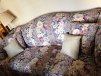 Beige pink & maroon & white floral 3 person couch with 4 pillows