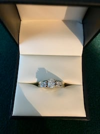 Cushion Cut Diamond Wedding Ring 14KT White Gold