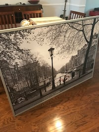 Black and White Wooden Framed Picture of City Scene (55 wide x 40 high) Alexandria