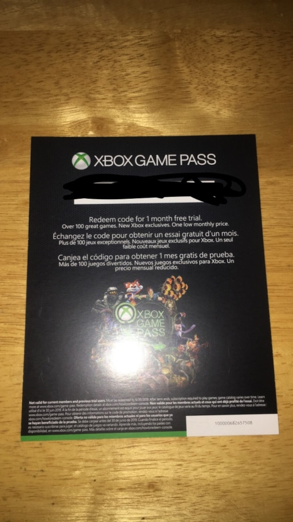 1 month Xbox game pass