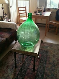 Large hand blown glass bottle