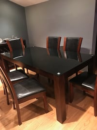 Dining set and Sideboard sits 6 glass tabletop great condition  Mt Arlington