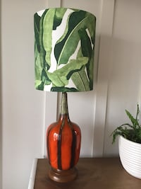 Orange Glazed Table lamp with green and white shade Woodbridge, 22192