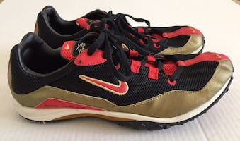Nike Zoom Waffle X Red Black Country Track Shoes Cleats Mens Sz 9