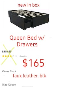 Queen Bed w/ Storage Drawers,  Blk faux leather
