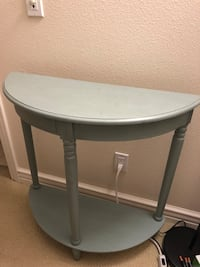 Round sea green wooden side table Newport Beach, 92657