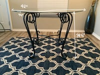 Round Glass Top Dining Table With Black Iron Base
