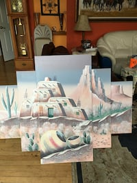 House in the dessert filled with cactus plant 6 panel painting 4 by 6