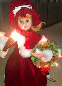 """Telco MOTION-ETTES OF CHRISTMAS Victorian Girl with Candle & Wreath 24"""" **MINT** 519 mi"""