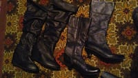 two pairs of black leather round-toe wedge and gray leather round-toe cone-heeled knee-high boots Saskatoon, S7L 6C9